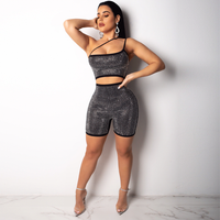 ANJAMANOR Sexy Romper Jumpsuit Gold Silver Rhinestones Glitter One Piece Outfit Party Club Costumes Bodycon Playsuit D35 AG80
