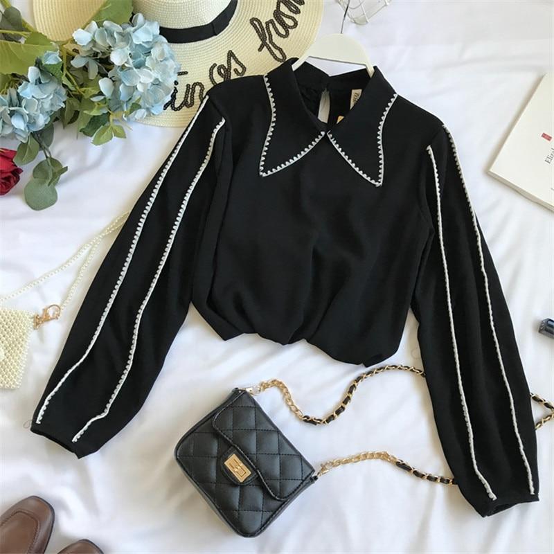 Y Pan Camisa Chica 2019 Otoño Blusa 69501 De Sólido Las Simple Moda Nueva Primavera Collar Vintage Peter Black Dulce Neploe Ol white Suelto Mujeres 54A47