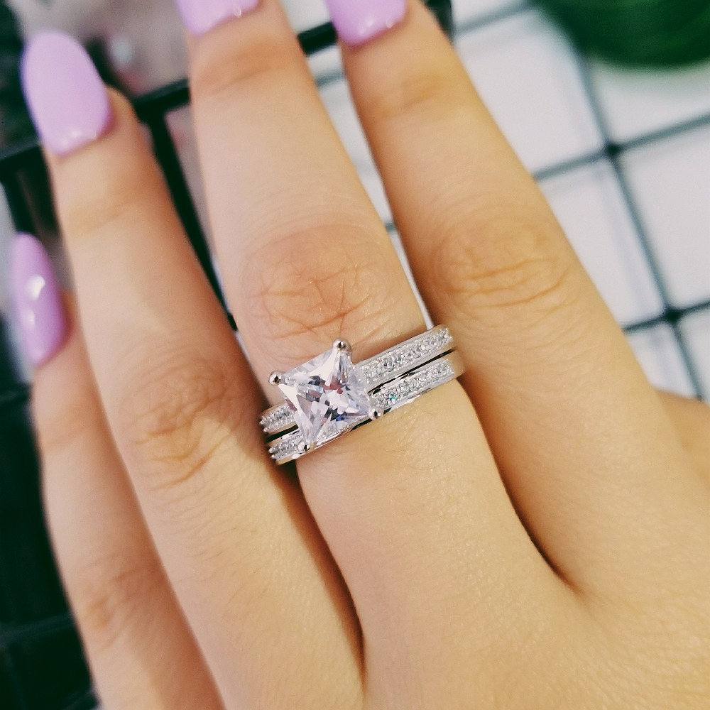 699347d2426 US $25.0  Moonso Real Silver 925 Rings 1.5 Carat Princess Cut Ring for  Women Wedding Engagement Ring Set Wholesale R1944S-in Rings from Jewelry &  ...