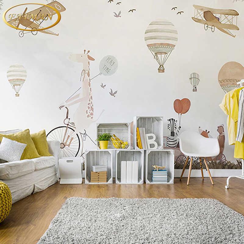 Niestandardowe fotorealistyczna tapeta 3d kreskówka ręka malowane gorący balon dmuchany mural dzieci pokój sofa tapeta tło papel de parede