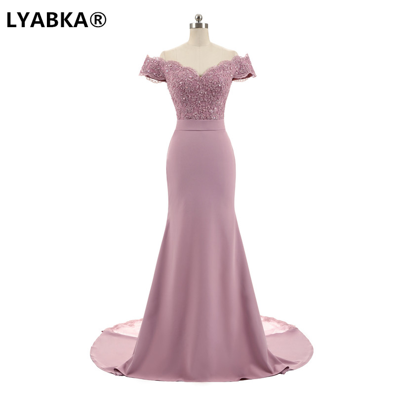 LYABKA Robe De Soiree Mermaid Pink Long Evening Dress Party Elegant Vestido De Festa Long Prom Gown 2020 With Belt 1