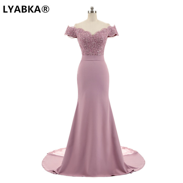 Evening Dress Abendkleider 2019 Design Sweetheart Mermaid Prom Dress Satin With Appliques Evening Dresses Long Robe