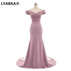 LYABKA Robe De Soiree Meerjungfrau Rosa Lange Abendkleid Partei Elegante Vestido De Festa Lange Abendkleid 2020 Mit Gürtel