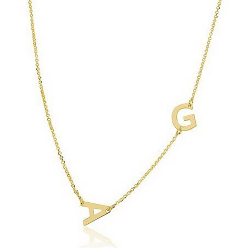 wholesale sideway initial necklace 925 solid chain with 2 letters personalized 2 initials pendent fashion name
