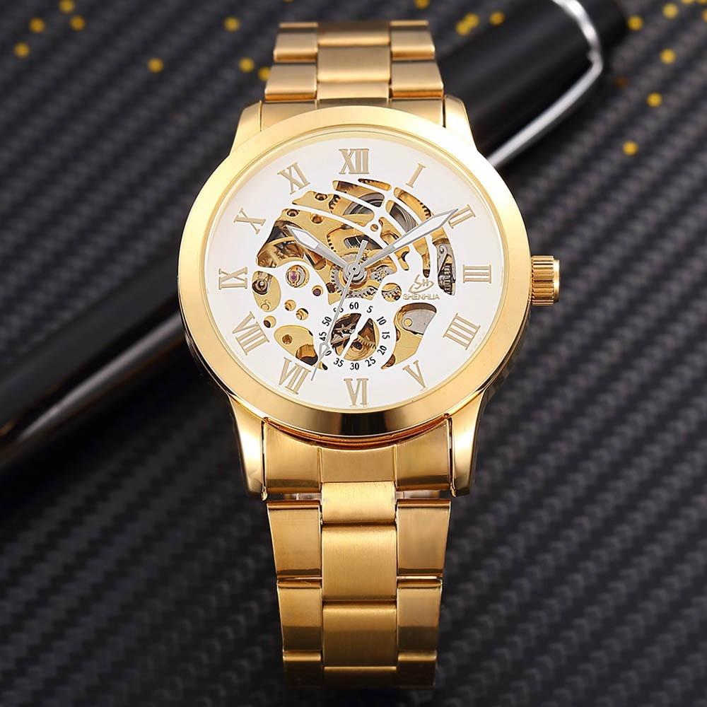 SHENHUA Zegarek męski Luksusowa Moda Mężczyźni Złoty Szkielet - Męskie zegarki - Zdjęcie 4