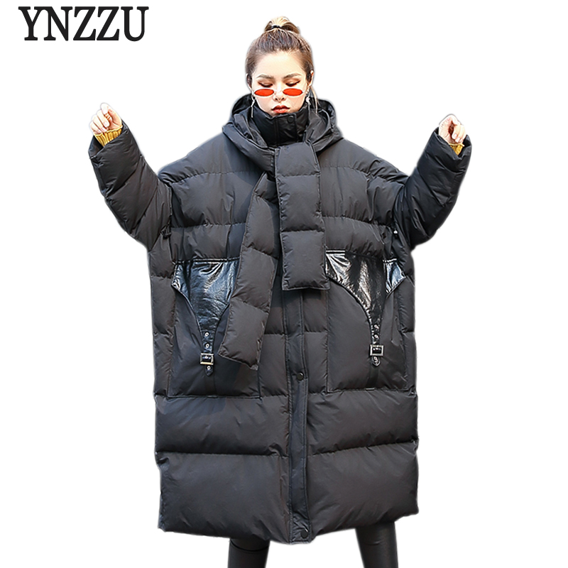 YNZZU Chic Casual Padded Jacket Winter Coat Women 2018 Black Hooded Warm   Parkas   Female Quilted Coats Oversized Outwears YO701