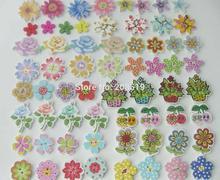 WBNSAA Different shape flower buttons for scrapbook decorative Multicolors 200 pieces flatback wood button