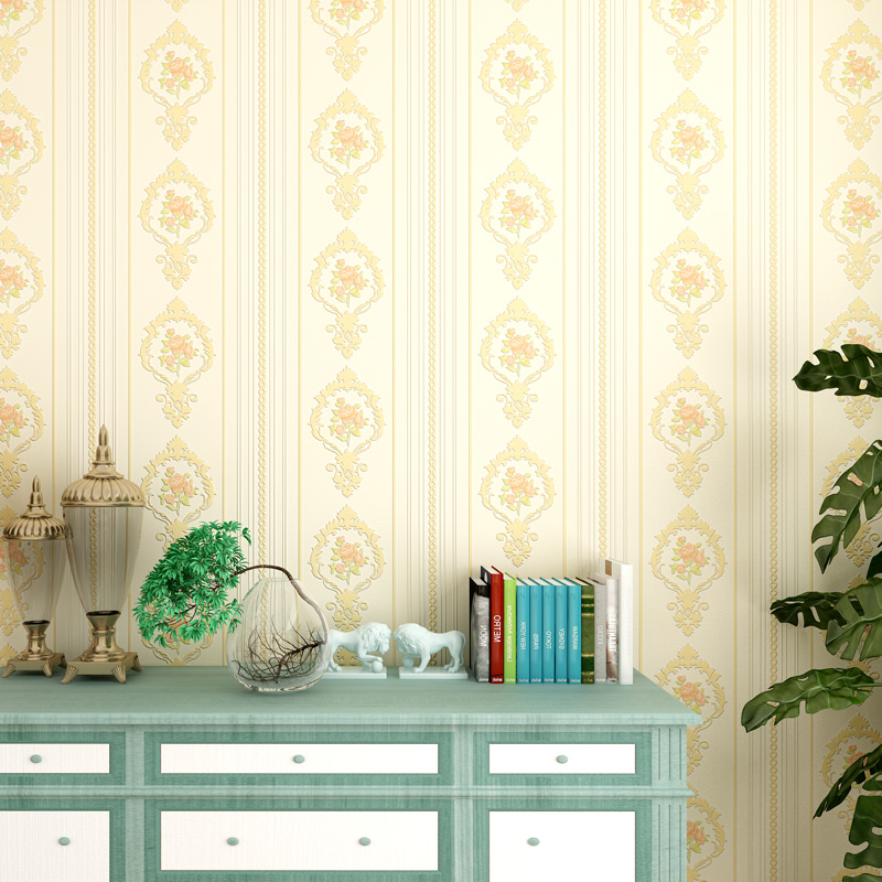 Купить с кэшбэком European Stripped Wall Papers Home Decor Floral Wall Paper Roll for Living Room Bedroom Walls Decoration Mural papier peint