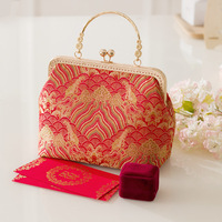 New Fashion China Style Red Silk Tote Bag for Marry Adorable Flap Felt National Women Clutch Purse