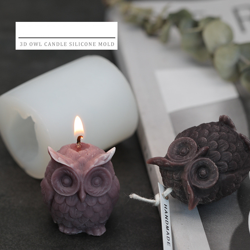 3D Owl silicone Candle Mold DIY Soap Mold Fondant Cake mold chocolate Resin Clay Candle Molds DIY Party Favors