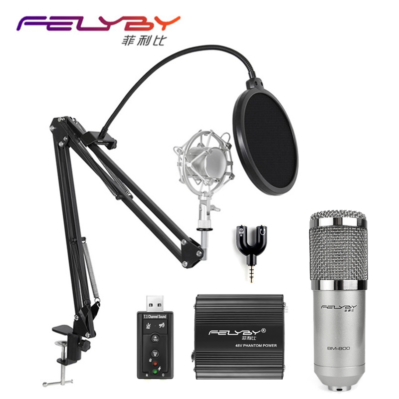 FELYBY professional bm 800 condenser microphone for computer audio karaoke mikrofon studio recording 3.5mm microphones sets heat live broadcast sound card professional bm 700 condenser mic with webcam package karaoke microphone