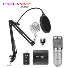 FELYBY professional bm 800 condenser microphone for computer audio karaoke mikrofon studio recording 3.5mm microphones sets