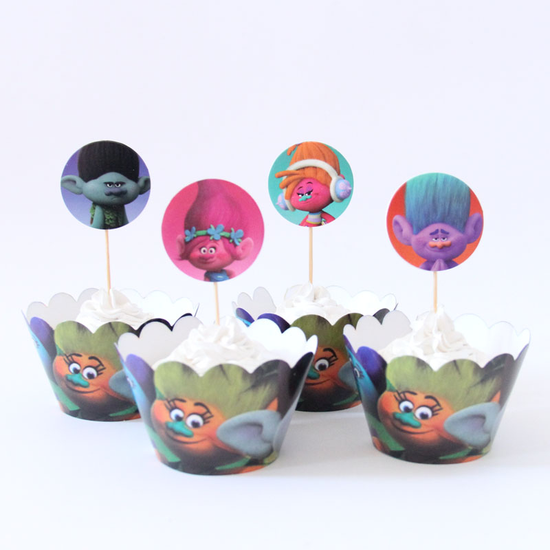 24pcs lot new trolls cupcake wrappers toppers for kids for New home cupcake decorations