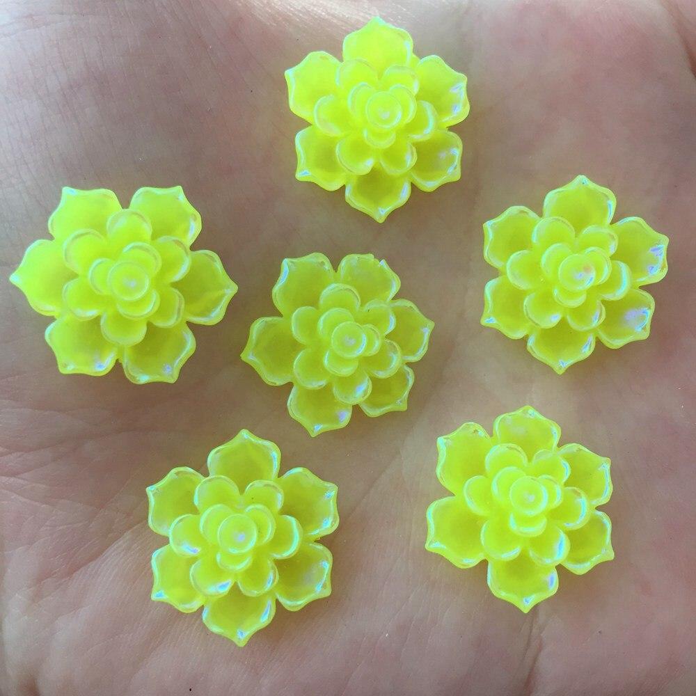 Новый 20 шт. 20 мм AB Смола 3D каменный цветок Flatback Свадьба Diy Дизайн кнопку ремесло K335 * 2
