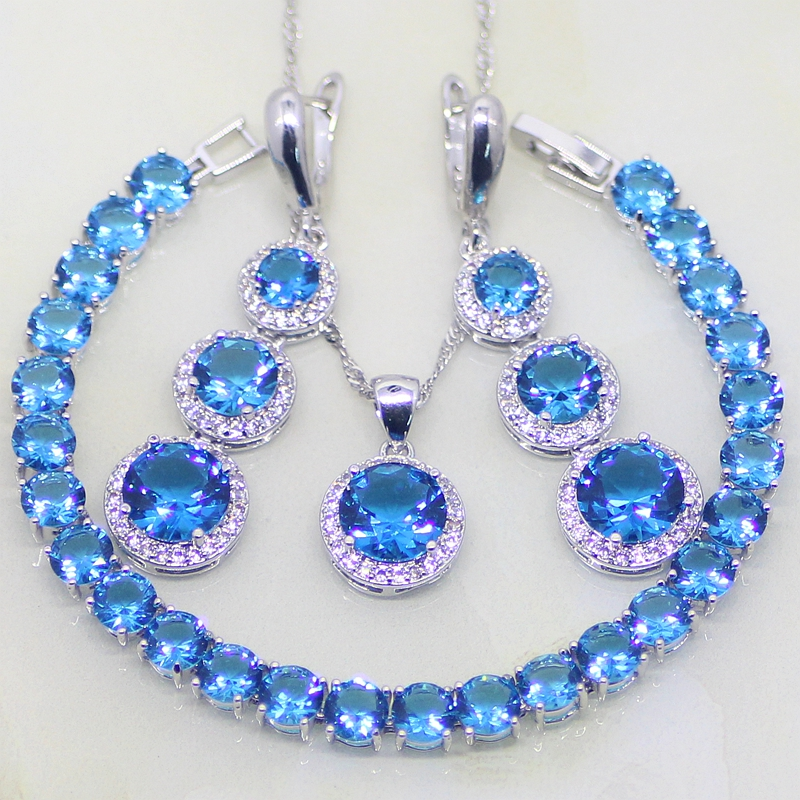 925 Sterling Silver Jewelry Round Blue Crystal White Rhinestone Jewelry Sets For Women Earring Pendant Necklace