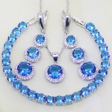 925 Sterling Silver Jewelry Round Blue Crystal White Rhinestone Jewelry Sets For Women Earring/Pendant/Necklace/Bracelet T047