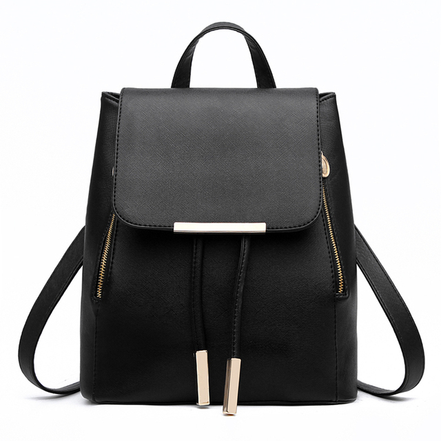 2016 New Stylish Women Backpacks Fashion Solid Leather School Bags For  Teenager Girls High Quality Casual Mochila 9 Candy Colors 0cc8d3a0b1db4