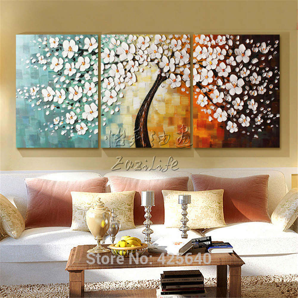 Canvas painting caudros decoracion 3 pieces palette knife tree acrylic painting wall art - Decor art quadri bari ...