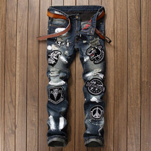 Persönlichkeit Bestickt Tiger Jeans Männer Zerrissene Jeans-Mode Marke Zerkratzt Biker Jeans Denim Gerade Slim Fit Casual Hosen