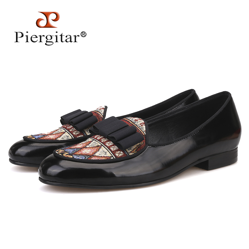 Piergitar brand 2019 Handmade Leather patchwork paisley pattern cotton men loafers Fashion party and wedding men