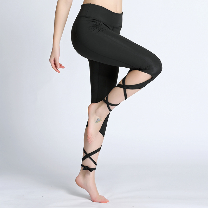 Yoga Pants Women Seven Fitness Sport Leggings High Waist Cross Yoga Ballet Dance Tights Bandage Cropped Pants Running Tights