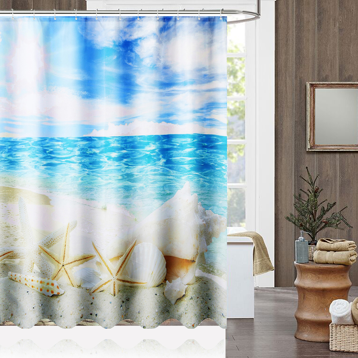 Us 11 7 17 Off 180x180cm Sunshine Beach Shower Curtain Seashell Polyester Waterproof Fabric Ocean Washable Bathroom Home Decor In Shower Curtains