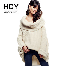 цена на HDY Haoduoyi Women Sweaters Long Sleeve Loose Elegant Streetwear High Cowl Pullover Asymmetrical Knitted Casual Female Sweaters