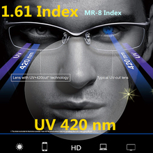 1.61 Index UV 420 Anti Blue Ray Radiation Resin Lenses Green Coating Fatigue Lens for Eyes