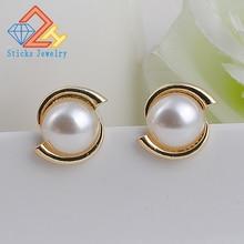 Fashion Elegant Women Ethnic Style Light Gold White Simulated Pearl Stud Earrings