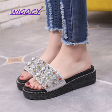 Thick-soled Sequined slippers women 2019 new summer shoes women Fashion Bling Non-slip wild Wedges Casual ladies shoes hanbaidi luxury bling bling sequined cloth women summer slippers candy color bowknot decor peeptoe slip on celebrity shoes