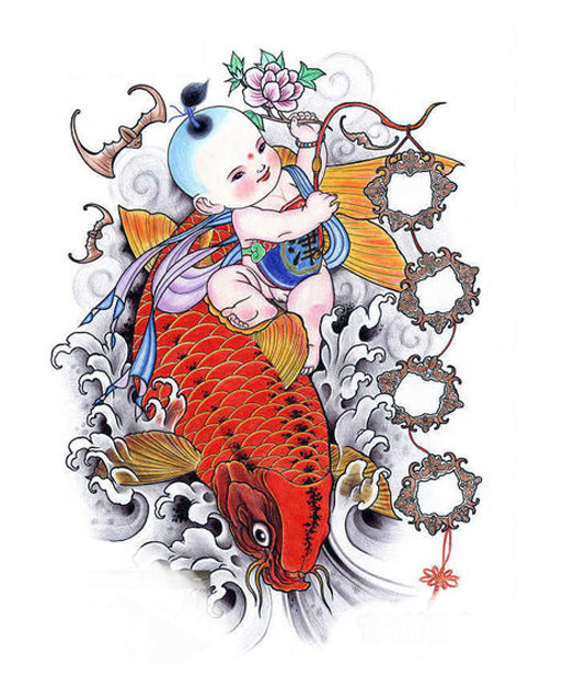 Removable temporary tattoos baby with red carp tatoo chinese auspicious symbol koi kids tattoo sticker ax90