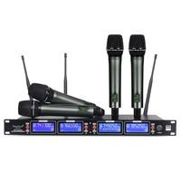 Frete grátis!! Sistema de microfone sem fio uhf metal inteiro handheld 4 transmistores excelente para o karaoke da fase uhf wireless microphone wireless microphonewireless microphone system -