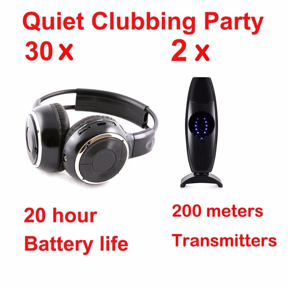 Professionale Tranquilla Clubbing Partito silent disco pieghevole cuffie Fascio (30 Cuffie + 2 Trasmettitori)Professionale Tranquilla Clubbing Partito silent disco pieghevole cuffie Fascio (30 Cuffie + 2 Trasmettitori)