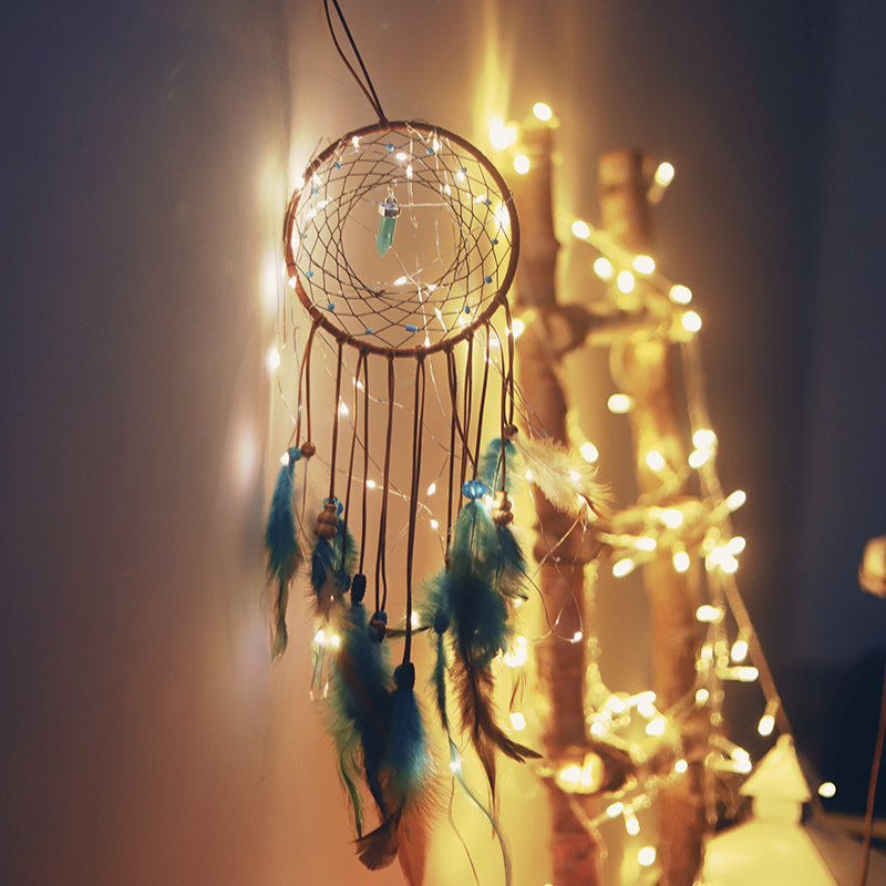 Feather Dream Catcher Baby Mobile LED Fairy Lights Battery Powered Hanging Ornaments Wedding Bedroom Decor Boho Nursery Decors