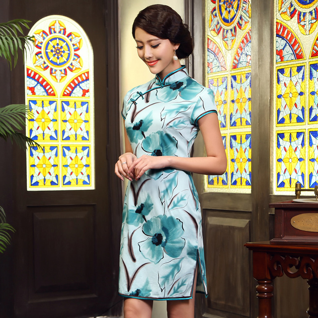 Flower 2013 summer cheongsam fashion vintage print women's one-piece dress g611623