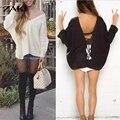 2016 новый стиль женщины сексуальное V шеи Шнурок Вязание нерегулярные пуловер топы осень зима свободно случайные Упал плечо свитер