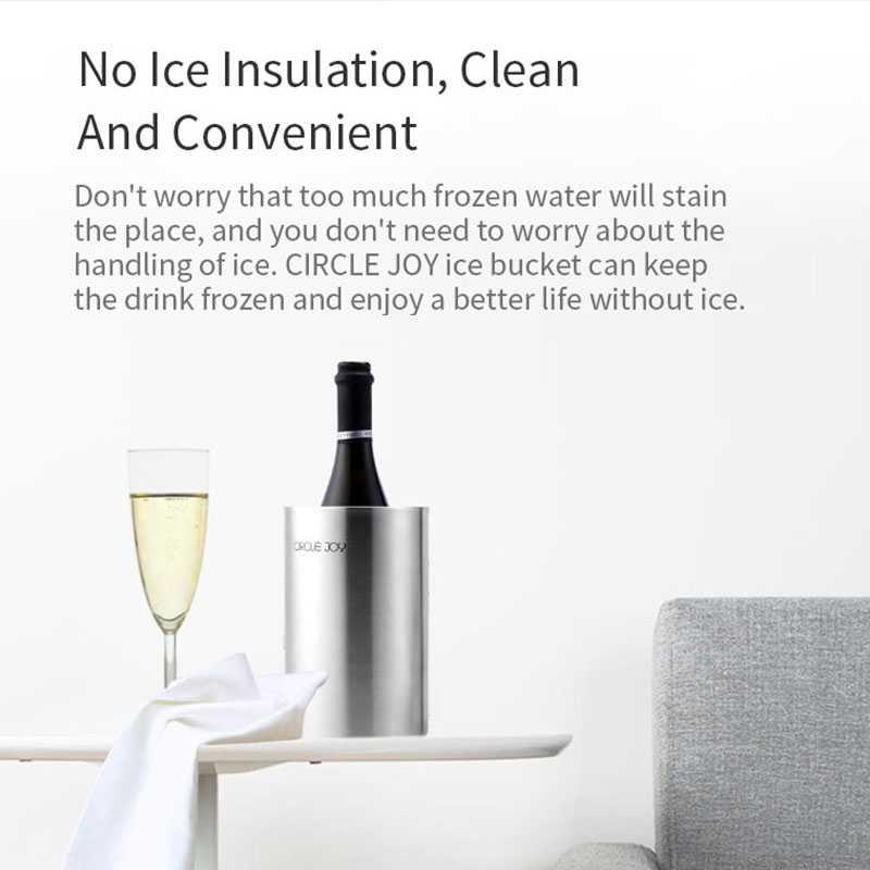 2019 Xiaomi Youpin Círculo Alegria Em Aço Inox Balde de Gelo Duplo Isolamento Eficiente Mini Balde de Gelo para o Vinho Suco Gelado