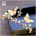 Barroco de la novia corona de oro plateado mariposa grande crytal joyería tiara de la princesa Rhinestone novia pelo de la boda