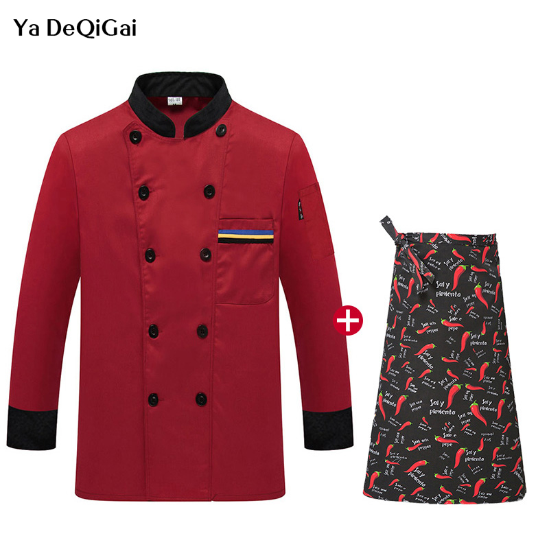 New Hotel Kitchen Chef Workwear Uniforms Long Sleeved Catering Red Cooking Jacket + Apron Chef Uniforms Men And Women Chef Works