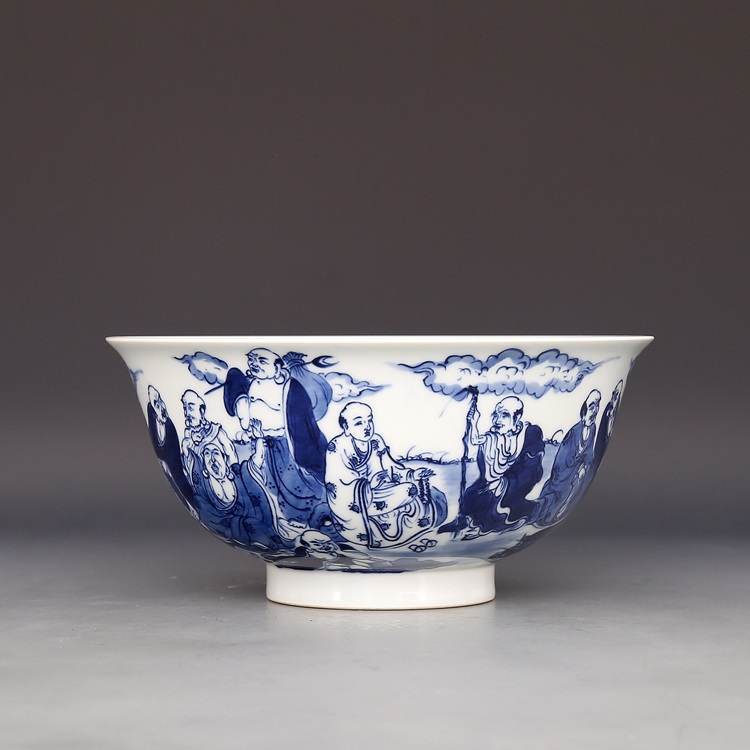Канси году Марк ручная роспись синий и белый восемнадцать Лохан большой чаша изысканный ручной античный старый аксессуары
