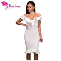 Dear Lover Elegant Summer Dresses New Arrival White Ruffle Neckline Mermaid Hem Midi Dress Knee Length
