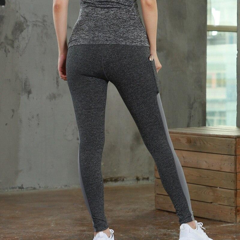Купить с кэшбэком Women Yoga Pants with Pocket High Waist Fitness Gym Sport Legging Quick Dry Female Sportswear Long Winter Warm Running Trousers