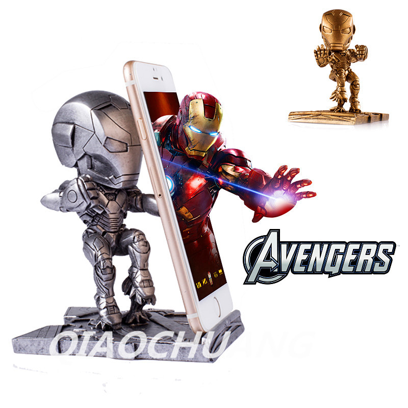 Statue Avengers Q version Resin Mobile Phone Support Iron Man Car Decoration Mobile Phone Stand Collectible Model Toy Boxed W116
