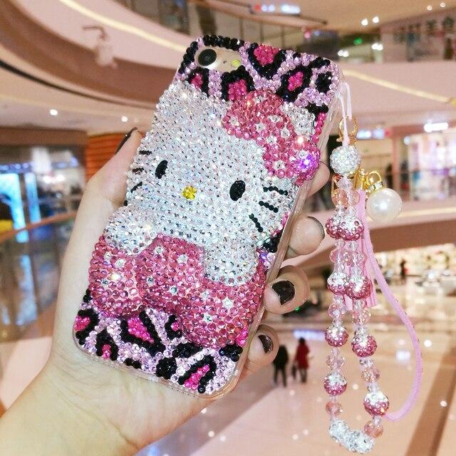 3D Bling Crystal Cover Voor Iphone Xsmax 8/8 Plus Parel Kat Diy Telefoon Case Voor Iphone X 6 S Plus Luxe Fundas Voor Iphone 7 Plus 11