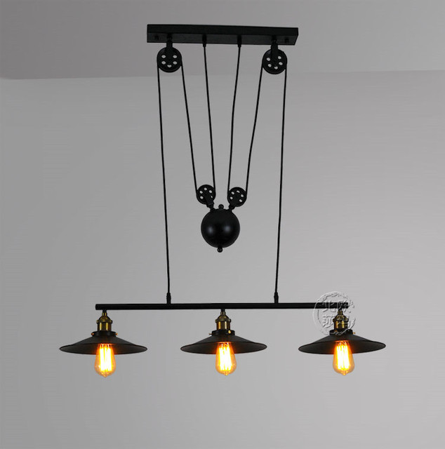 Loft vintage  Iron Pulley pendant lights Bar Kitchen Home Decoration E27 Edison hanging light lamp Light Fixtures
