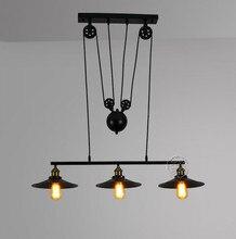Roldana de Ferro do vintage sótão pingente luzes Bar de Cozinha Decoração de Casa E27 Edison luz pendurado lâmpada Luminárias