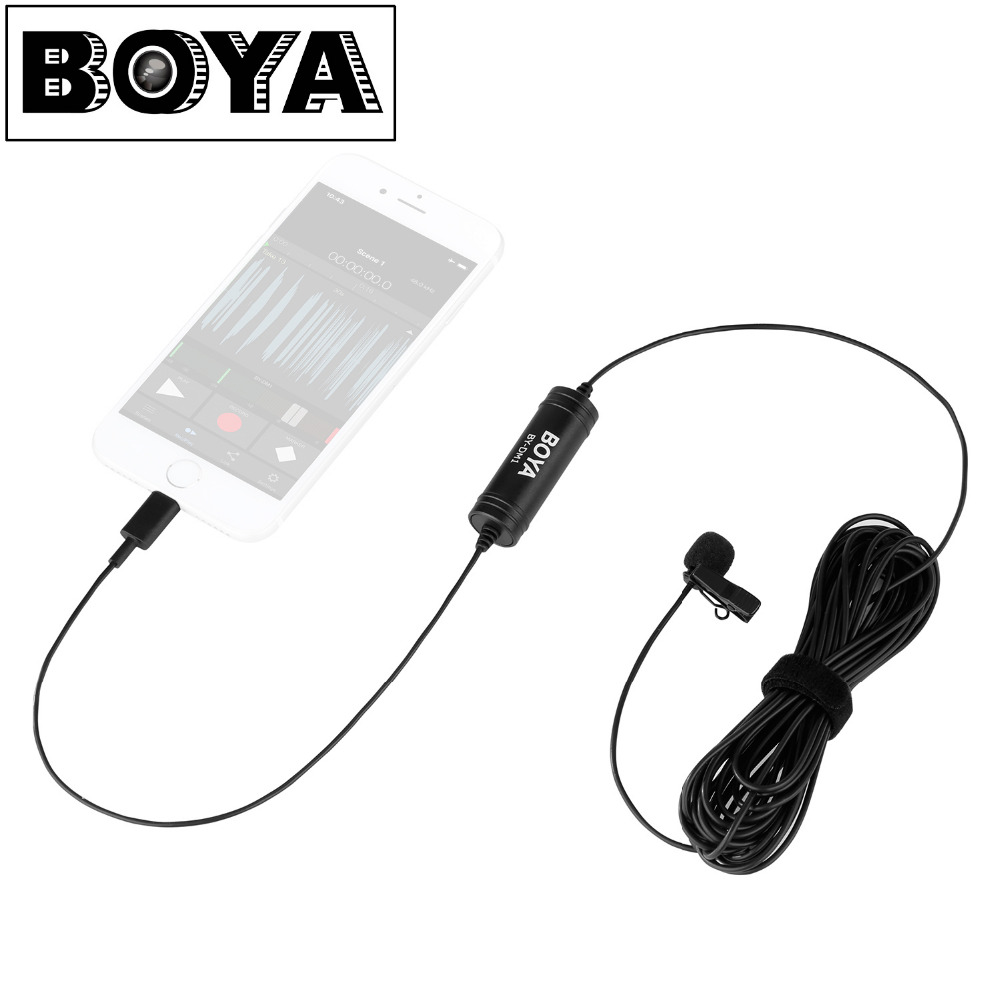лучшая цена Newest BOYA BY-DM1 Lavalier Microphone Clip-on Mic with IOS Interface Plug for iPhone 8 7 Plus iPad Air iPod Touch