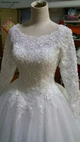 Роскошные арабский турецкая исламская Свадебные Платья С одежда с длинным рукавом Бисер царский поезд Кружево Винтаж невесты платья халат
