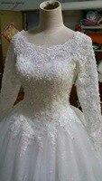 De luxe Arabe Turc Islamique Robes De Mariée Avec Manches Longues Perles Train Royal Dentelle Vintage Mariée Robes Robe De Mariée 2018