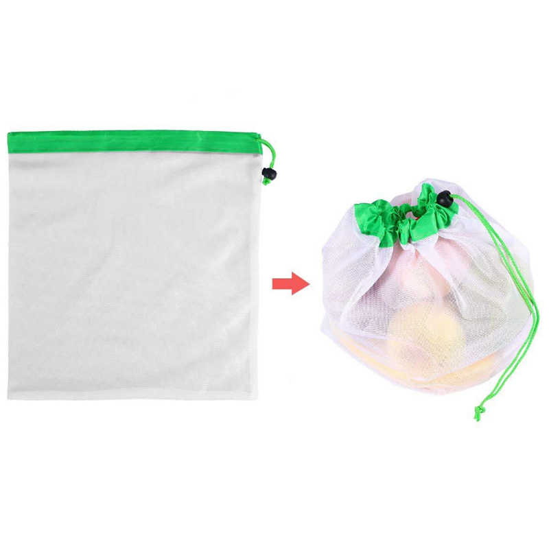 12pcs Reusable Mesh Produce Bags Lightweight Pouch for Vegetable Fruit Toy Storage Curved unilateral beam splicing mesh bag RT99